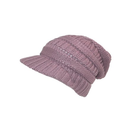 CTM Women's Throwback Chunky Knit Slouchy Beanie Hat, , Size: one size Mauve