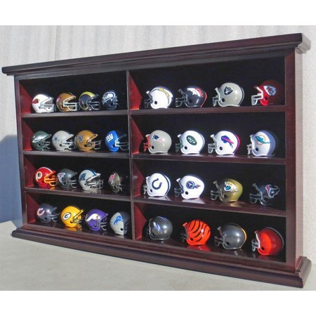 32 Pocket Pro Mini Football Helmet Display Case Cabinet Holders Rack w/ UV Protection Panel
