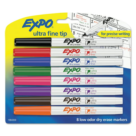 EXPO Low Odor Dry Erase Markers, Ultra-Fine Tip, Assorted, 8 Count