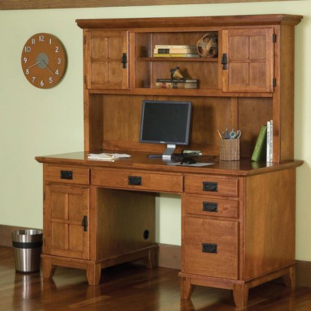 Arts and Crafts Pedestal Desk and Hutch Cottage Oak