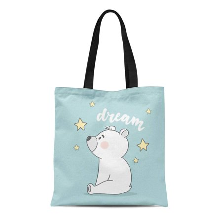 HATIART Canvas Tote Bag Doodle Cute Bear Dream Cartoon Graphic Pretty Adorable Durable Reusable Shopping Shoulder Grocery Bag - image 1 of 1