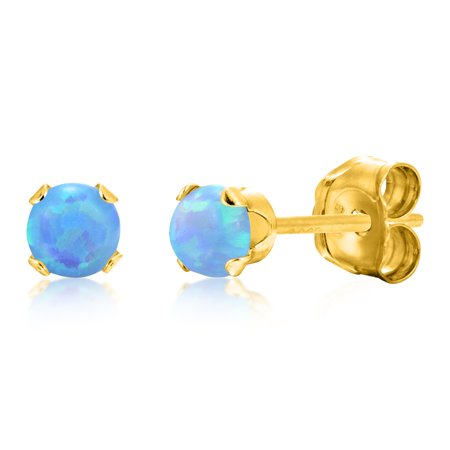 Round 3mm Baby Blue Simulated Opal Stud Earrings - 14k Gold over Sterling Silver .925