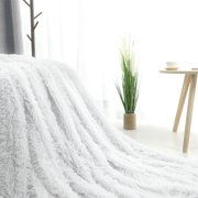 Reversible Lightweight Soft Long Shaggy Faux Fur White Blanket Twin Size