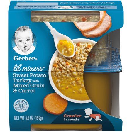 Gerber Lil' Mixers, Sweet Potato Turkey with Mixed Grains and Carrot, 5.6 oz Container (Pack of 6)