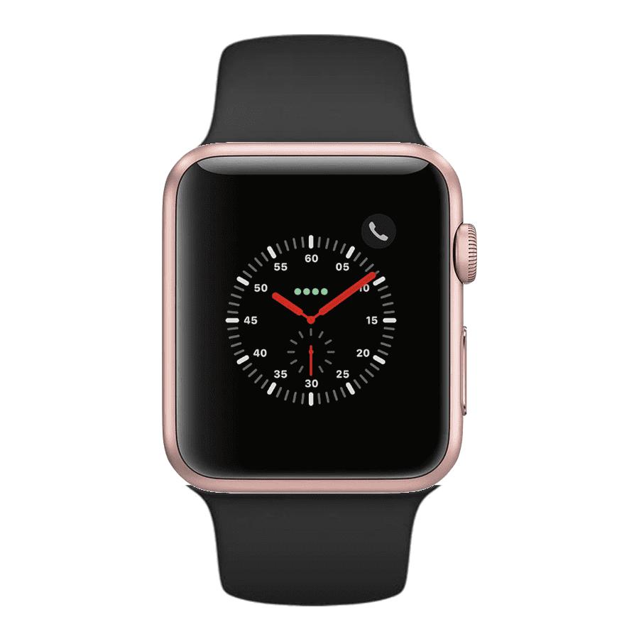Apple Watch Series 3 42mm Gps Cellular Rose Gold Aluminum Case Black Sport Band Non Retail Packaging Walmart Com Walmart Com