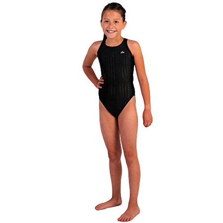 Navy Block - Flow Girls Swimsuit - One Piece Crossback Competitive Swimsuit Youth Sizes 23 to 30 in Black, Navy, and Blue (29, Black) - FLOW GIRLS SWIMSUIT-BLACK-29