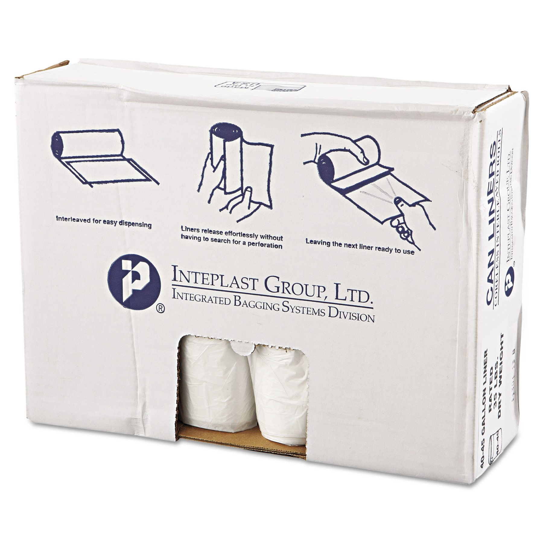 Inteplast Group VALH4048N12 High-Density Can Liner, 40 x 46, 45gal, 12mic, Clear, 25/Roll, 10 Rolls/Carton