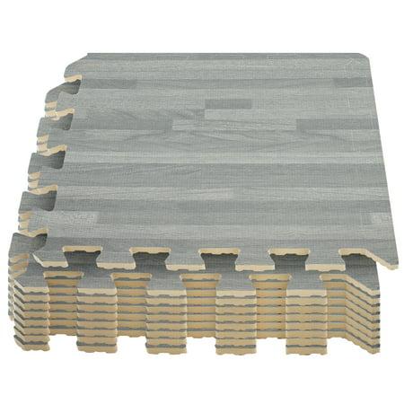 Sorbus Wood Grain Floor Mats Foam Interlocking Mats Each Tile 3 8