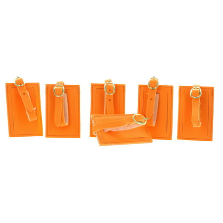 Rite Aid Lot of 6 Neon Orange Luggage Tags With Strap Travel ID Suitcase