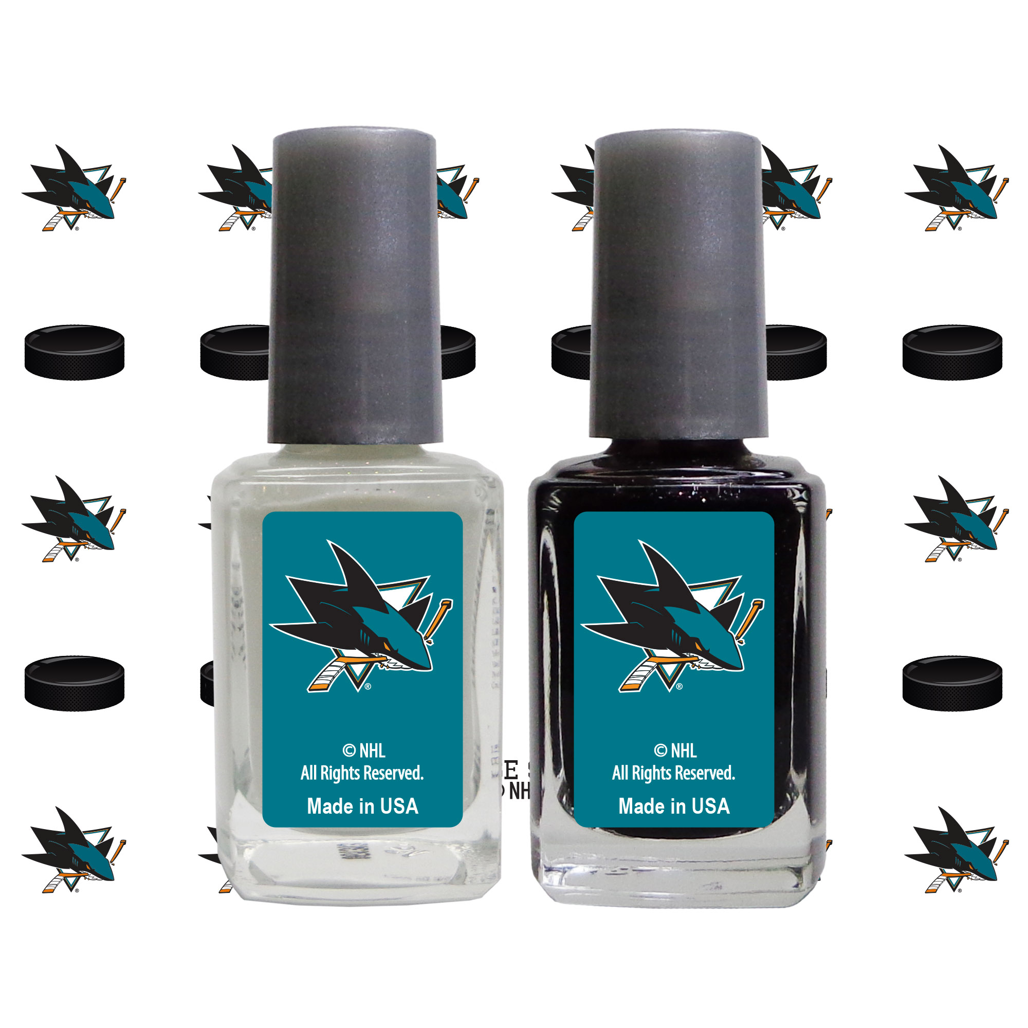 San Jose Sharks 2-Pack Nail Polish with Nail Decal - No Size