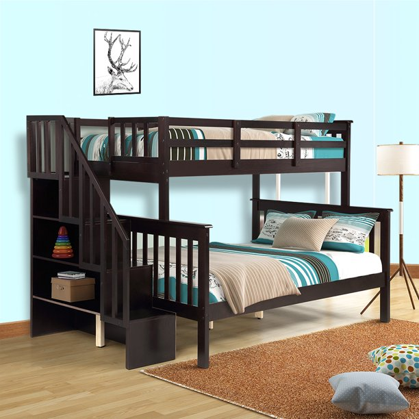 Kids Bunk Beds for Boys Girls, Twin Over Full Bunk Bed Frame