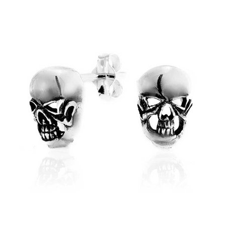 Skull Head Gothic Sterling Silver Stud Earrings