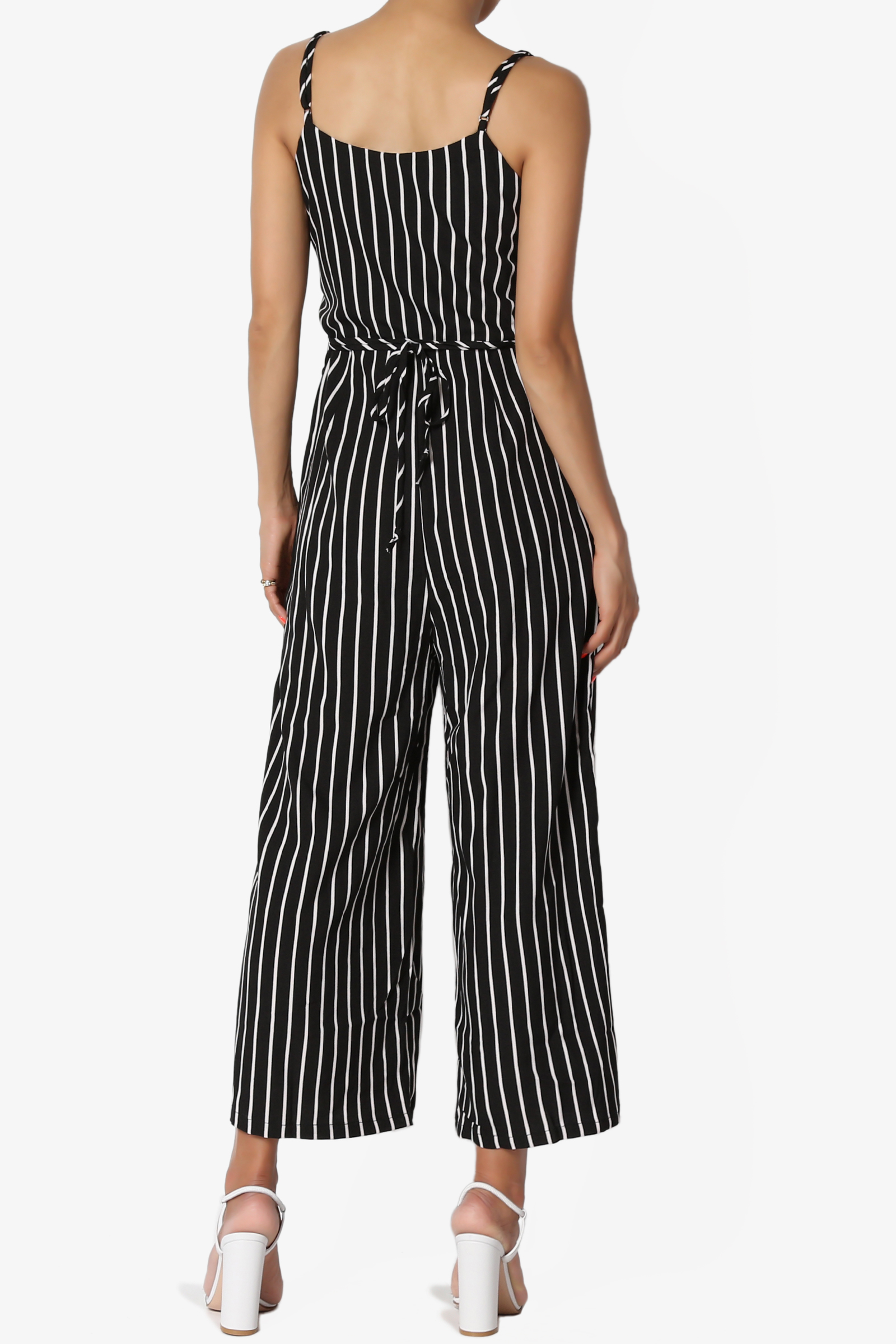c7a295455c0f TheMogan - TheMogan Junior s Sleeveless Stripe Tie Waist Crop Wide Leg  Culotte Jumpsuit - Walmart.com