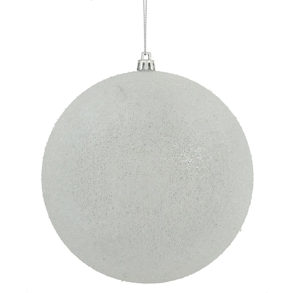 "Vickerman 472392 - 4"" White Iced Ball Christmas Tree Ornament (4 pack) (N172111D)"