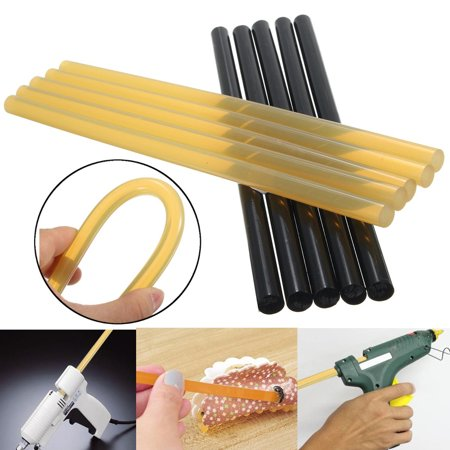 5pcs Black car dent remove + 5pcs Yellow Tools adhesive Glue Stick Paintless Car Dent Repair Puller Auto Hail Removal Tool 270x11mm (Headlamp Glue)