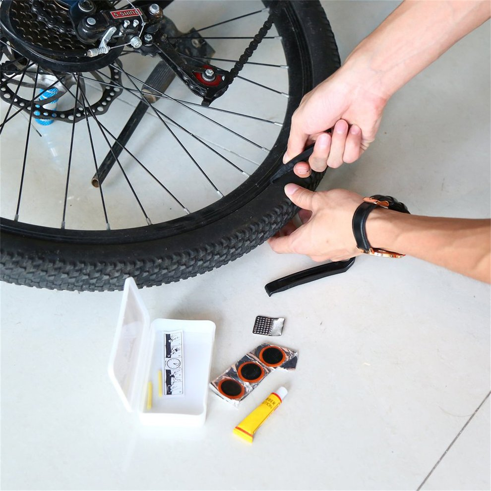 1 Sets/14 in 1 Cycling Bicycle Flat Rubber Tire Repair Patch Glue Lever Cement Tyre Rubber Tube Kit With White Box