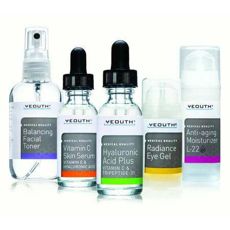 Yeouth Meilleur complet Anti vieillissement système de soins de la peau, Yeouth 5 Pack - équilibrage de toner pour le visage - La vitamine C Sérum - Sérum Acide hyaluronique - Gel Crème Yeux - L22 Visage Hydratant 100