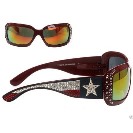- Montana West Ladies Sunglasses Texas Flag Collection Western Rhinestones UV400