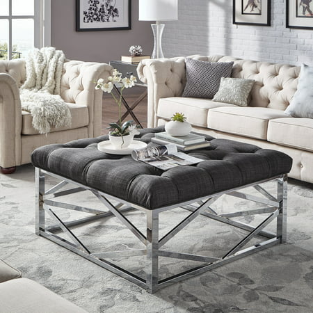 Weston Home Libby Button Tufted Cushion Ottoman Coffee Table with Chrome Metal Geometric Base, Multiple Colors (3/4 Chrome Button)
