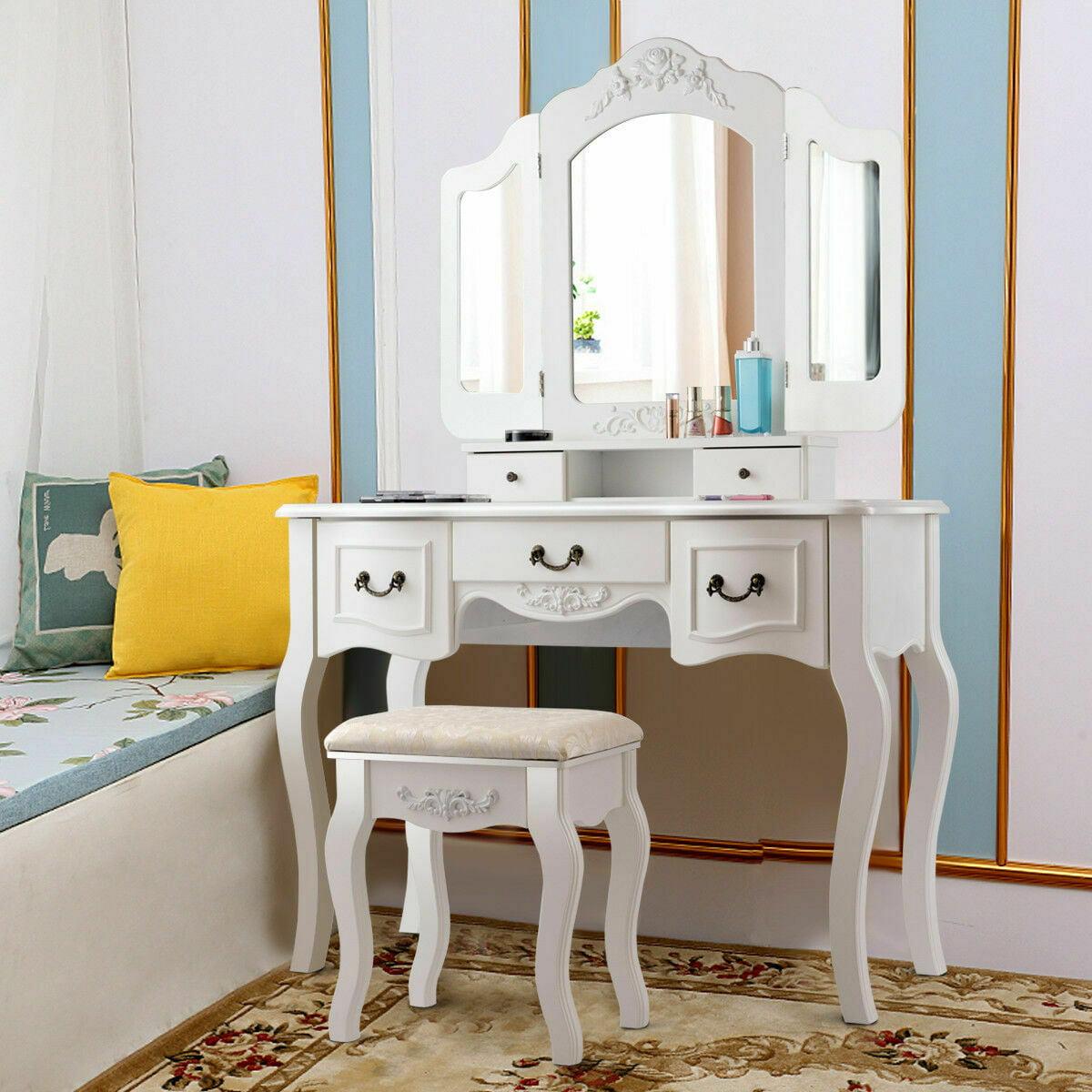 premium selection be241 844bc Costway Tri Folding Vintage Vanity Makeup Dressing Table Set 5 Drawers Black