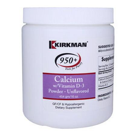 Kirkman Labs - Calcium with Vit D3 Powder Unflav.16 oz 5036016 Exp.2.19+ ASD