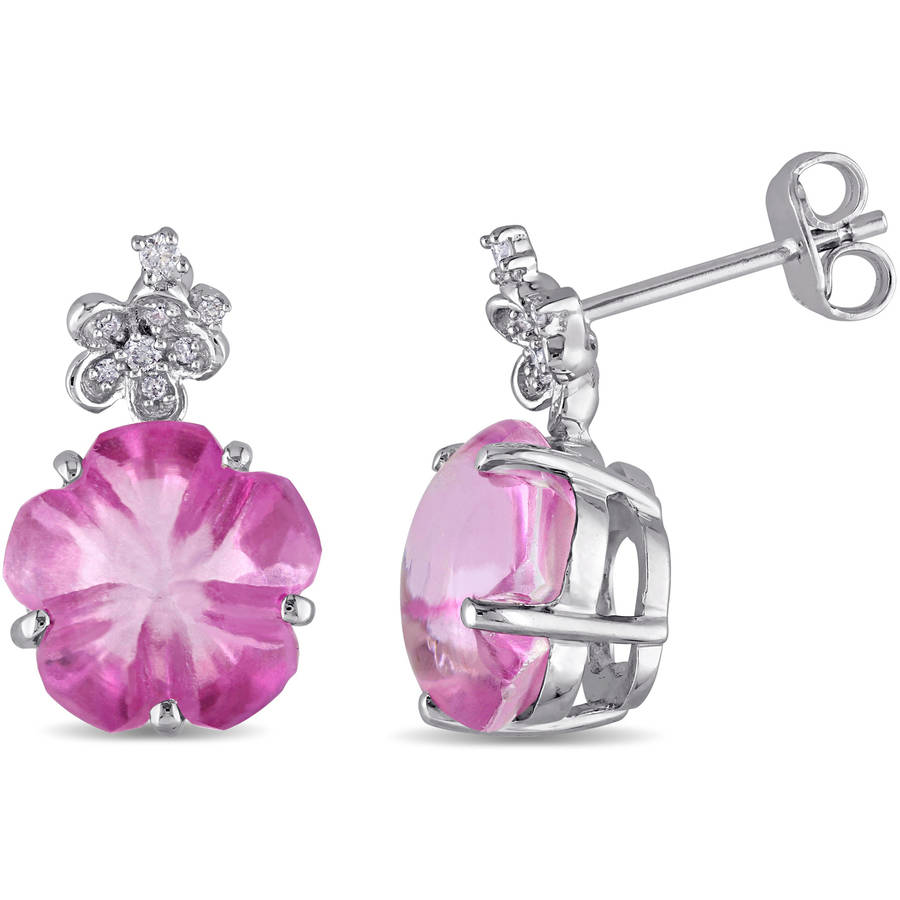 Tangelo 12-1 2 Carat T.G.W. Pink Topaz and Diamond-Accent Sterling Silver Floral Earrings by Tangelo