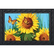 "Sunflower Field Summer Doormat Butterflies Floral 18"" x 30"" Indoor Outdoor"