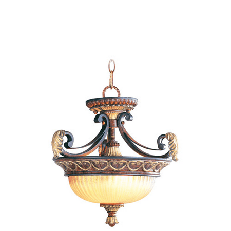 Pendants Porch 2 Light With Rustic Art Glass Verona Bronze with Aged Gold Leaf Accents size 15 in 120 Watts - World of Crystal