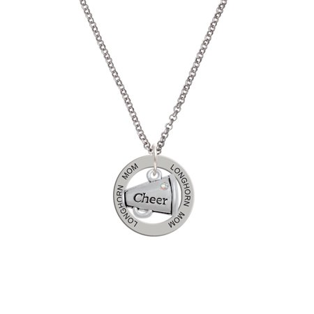 Cheer Megaphone with AB Crystal Longhorn Mom Affirmation Ring Necklace