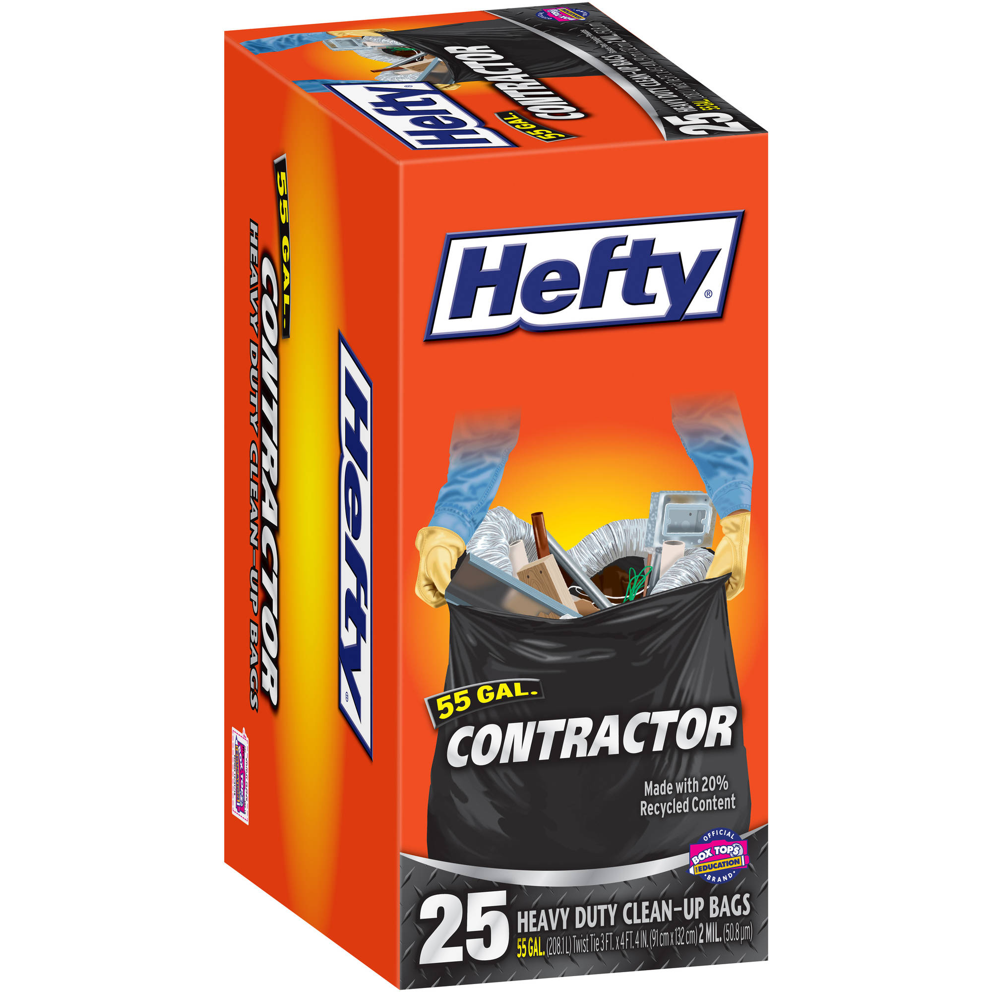 Hefty Contractor Heavy Duty Twist Tie Clean-Up Trash Bags, 55 gal, 25 count