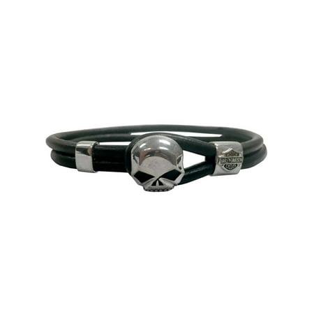 Harley Davidson Men S Willie G Skull Leather Loop Bracelet Black Hdb0345 8