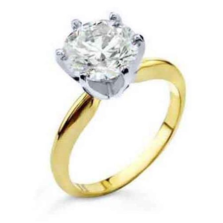 18k Brilliant Cut Stud - 18k Yellow Gold 1.23 Carat Solitaire Brilliant Round Cut Diamond Engagement Ring