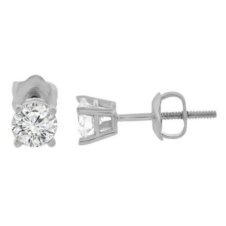 3ac916261 GLITZ DESIGN - 0.06 ct tw Small Four Prong Diamond Stud Earrings 14K White  Gold - Walmart.com