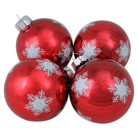 Northlight Snowflake Red Glass Ball Christmas Ornaments - Set of 4](Snowflake Glass)