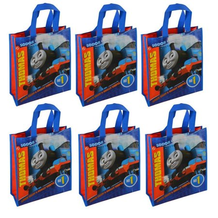 Reusable 12-inch Tote Bags, 6-Pack Party Set, Blue, Red, Set of 6 Officially Licensed Thomas the Tank Engine Reusable Tote Bags By Thomas the Tank Engine You'll love these versatile tote bags! Featuring - Always Ready & Always Useful! The front and back have bright graphics and colorful non-woven fabric. This set of SIX is perfect as party favors, large treat bags, gift bags, books bags, small shopping bags and more!