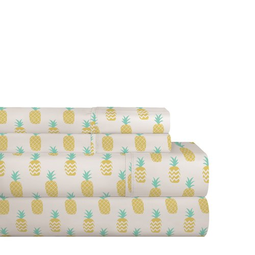 Bay Isle Home Stradford Pineapple 200 Thread Count 100pct Cotton Sheet Set