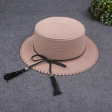 Women Sun Cap Straw Hat Boater Hat Wide Brim Bow Tassel Flat Summer Panama Beach - Boater Hats