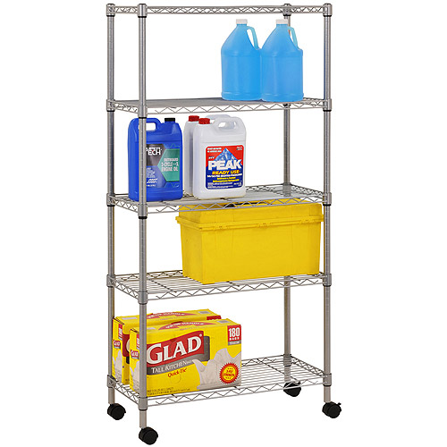 Muscle Rack 5-Shelf 4-Wheeled Wire Commercial Shelving Unit in Chrome