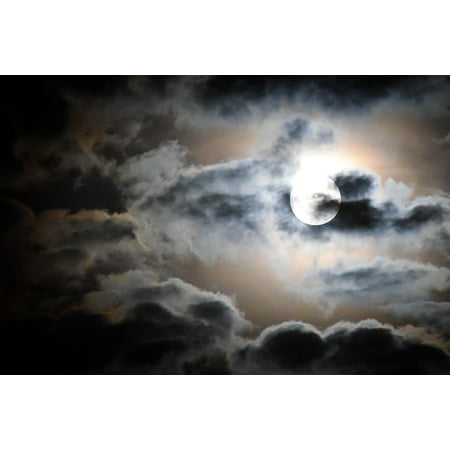 Canvas Print Clouds Night Moonlight Sky Dark Full Moon Moon Stretched Canvas 10 x