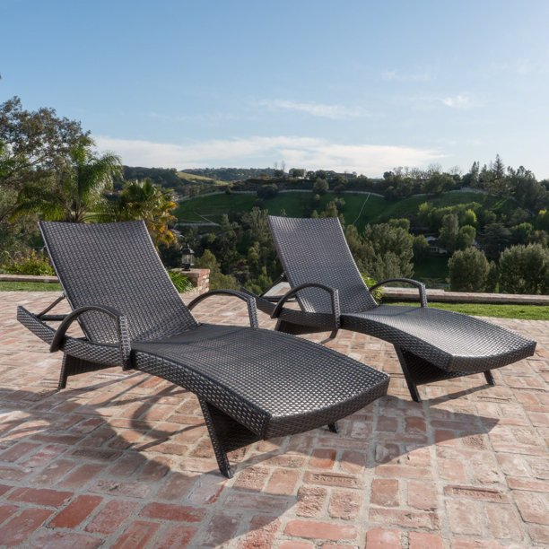 Anthony Outdoor Wicker Adjustable Chaise Lounge with Arms, Set of 2, Multibrown