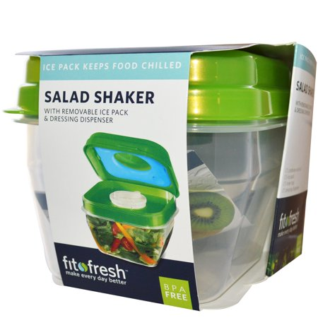 Fit & Fresh, Salad Shaker with Removable Ice Pack & Dressing Dispenser, 5 Piece Bowl(pack of - Halloween Punch Bowl Dry Ice