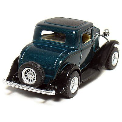 """New 5"""" Kinsmart 1932 Ford 3-Window Coupe Diecast Model Toy Car 1:34 - Green"""