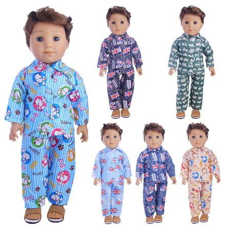 Nightwear Set for 18 Inch Boy Dolls Cute Mini Clothes Accessories for Dolls N1153 18 inch American doll clothes 1 8 Inch Mini Jack