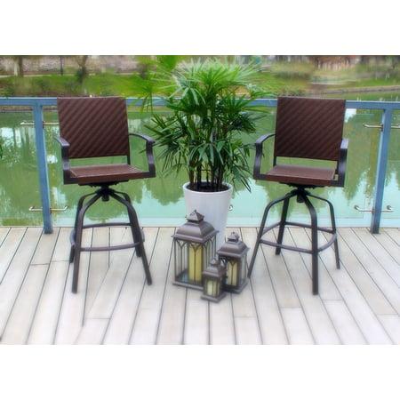 Outdoor Patio Brown Wicker Powder Coated Steel Swivel Barstool- Set of 2 (Powder Coated Aluminum Outdoor Furniture)