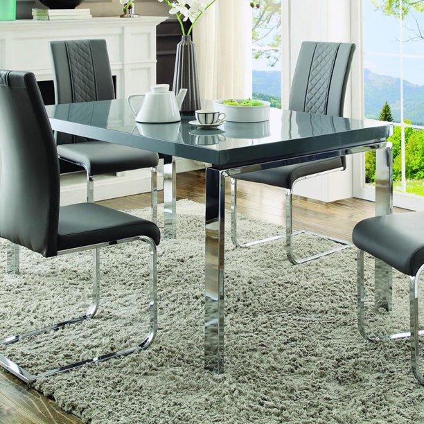 Homelegance Miami Rectangular Dining Table In High Gloss Grey Walmart Com Walmart Com