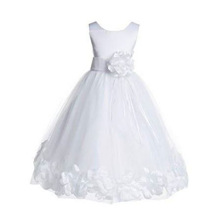 Ekidsbridal White Tulle Floral Rose Petals Formal Flower Girl Dress Wedding Tulle Dress Junior Bridesmaid Dress Holy Baptism Dress First Communion Dress Easter Summer Dresses Birthday Girl Dresses - First Communion Flower Girl Dresses