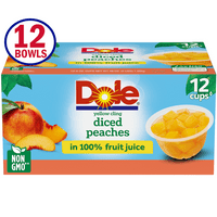 Dole Fruit Bowls Yellow Cling Diced Peaches in 100% Fruit Juice, 4 Oz Bowls, 12 Cups of Fruit