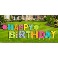 Happy Birthday Yard Sign, 15 pcs, Stakes Included, Outdoor Party Lawn Decoration or Indoor Wall Display
