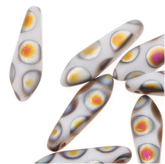 Czech Pressed Glass 5 x 16mm Dagger Beads - Peacock Matte White (25)