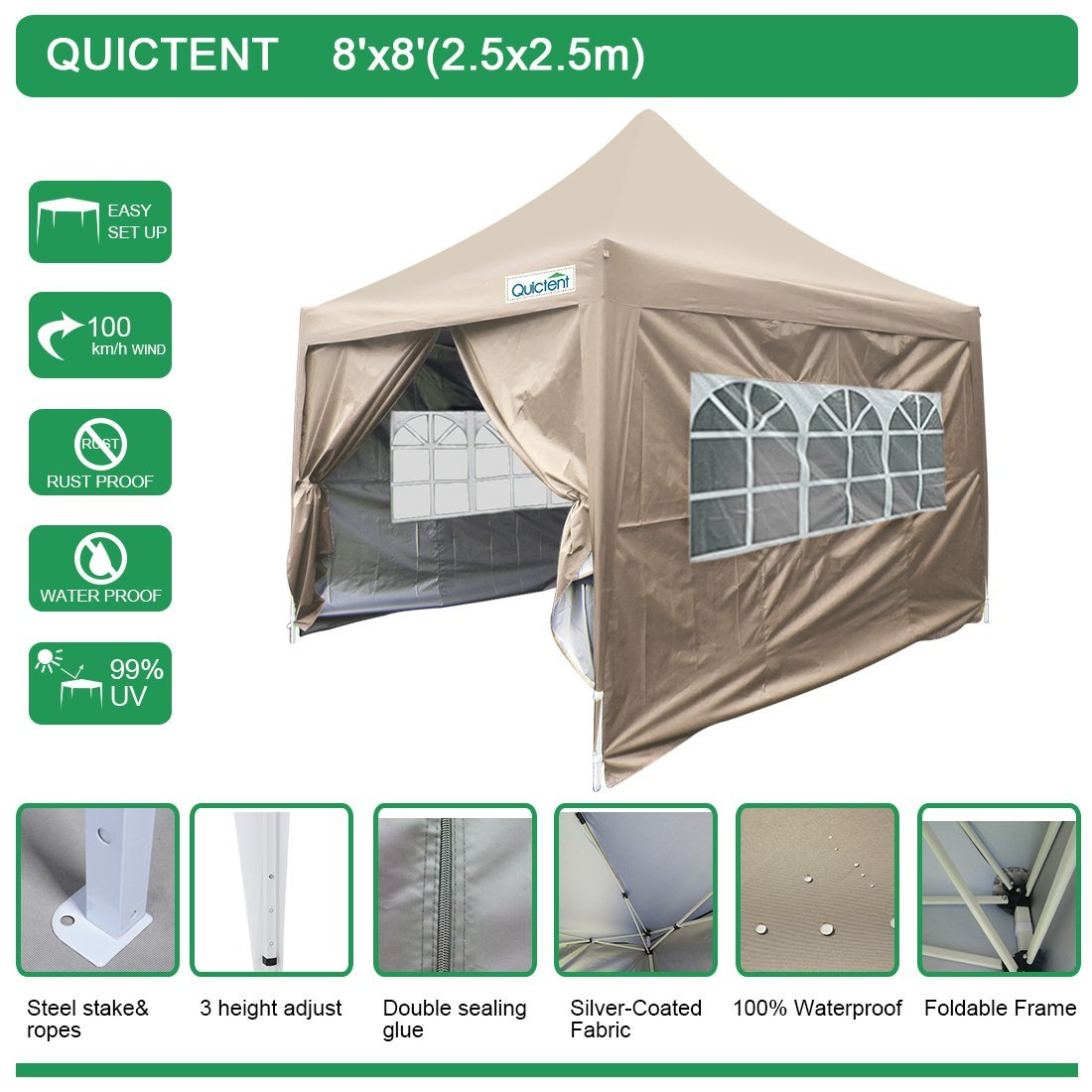 Quictent Silvox 8' x 8' EZ Pop Up Canopy Portable Waterproof Gazebo